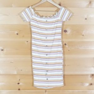 Striped Rue 21 Pullover Dress With Faux Buttons L